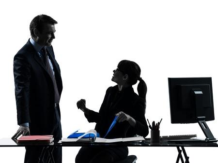 silueta masculina: una mujer cauc�sica ocupado de negocios sonriente pareja hombre silueta en estudio aislado sobre fondo blanco Foto de archivo