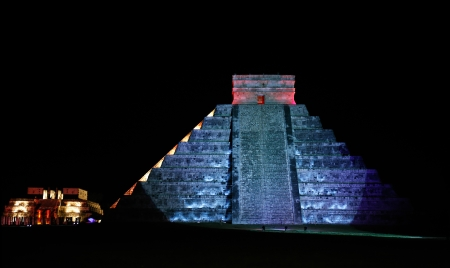 nightime: Kukulkan Pyramid  of Chichen Itza yucatan was a Maya  archaeological sites Mexico Stock Photo