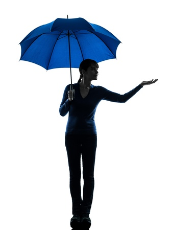 one caucasian woman holding umbrella palm gesture   in silhouette studio isolated on white background photo
