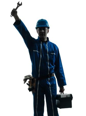 class maintenance: one caucasian repairman worker salutingsilhouette in studio on white background Stock Photo