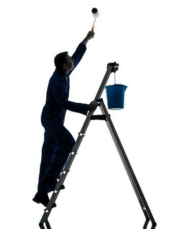 one caucasian man house painter worker silhouette in studio on white background Stock Photo - 18518084