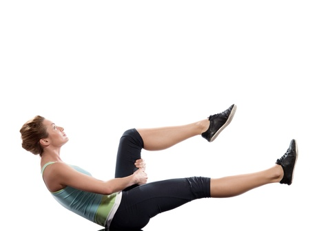 woman on Abdominals workout posture on white background photo