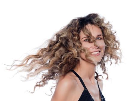 30 to 40: beautiful caucasian woman shake hair  portrait isolated studio on white background Stock Photo