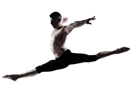 one caucasian modern ballet dancer dancing gymnastic acrobatic jumping bend posture studio isolated  on white background photo