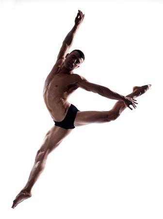 caucasian man gymnastic  leap postureisolated studio on white background photo