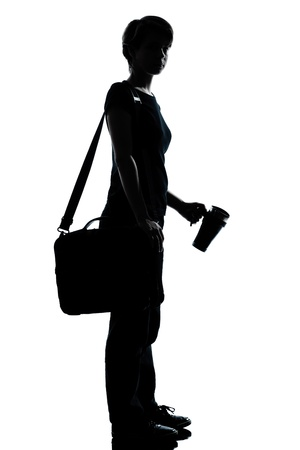 thermos: one caucasian young teenager silhouette boy or girl school student  full length in studio cut out isolated on white background