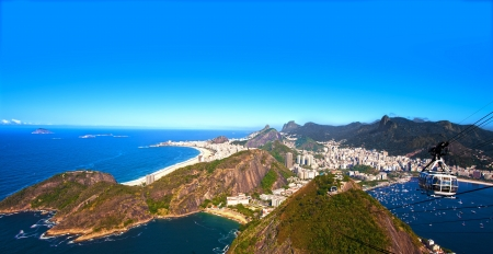 brazil: aerial view of botafogo and copacabana with the from the sugar loaf in rio de janeiro brazil Stock Photo