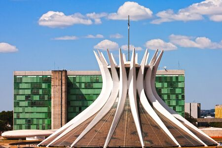 senhora: Cathedral Metropolitana Nossa Senhora Aparecida The Metropolitan Cathedral of Brasilia city capital of Brazil  is an expression of the geniality of the architect Oscar Niemeyer Stock Photo