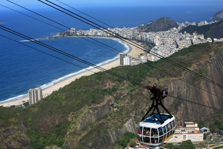 brazil beach: aerial view of copacabana with the from the sugar loaf in rio de janeiro brazil