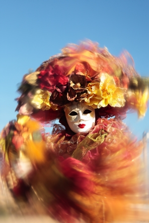 wonderful fashion show of disguised people during the venice carnival in italy