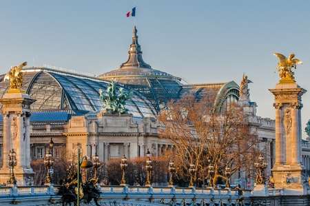 grand palais museum and Pont Alexandre III  Alexander the third bridge in the city of Paris in france