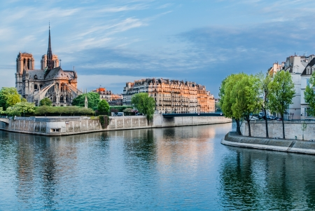 seine: notre dame de paris and the seine river France in the city of Paris in france