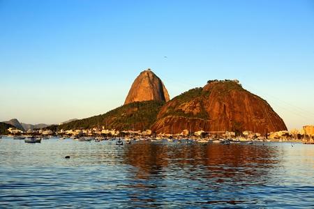 brazil beach: the sugar loaf at sunset in rio de janeiro brazil Stock Photo