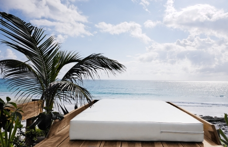 cabana: terrace of a cabana with a view of the beautiful  beach of tulum  yucatan mexico Stock Photo