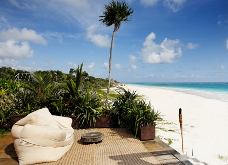 bean bag chair a view of the beautiful  beach of tulum  yucatan mexico photo