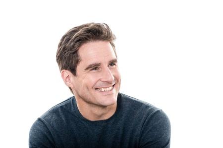 dentudo: un hombre cauc�sico maduro guapo hombre dientes retrato de estudio con fondo blanco sonrisa