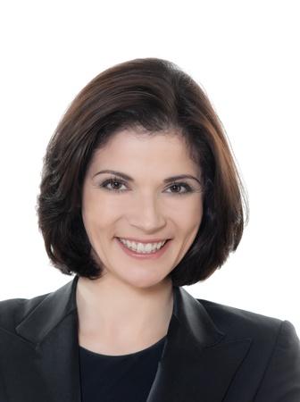 sch�ne frauen: einer sch�nen l�chelnden kaukasischen Gesch�ftsfrau Portrait im Studio auf wei�em Hintergrund
