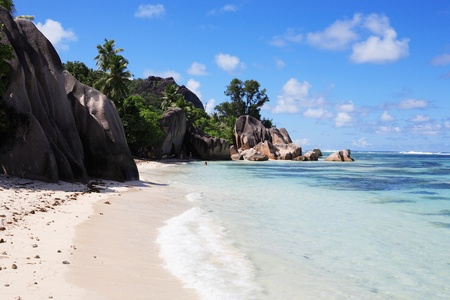 famous and beautiful beach of anse source dargent at La Digue one of the seychelles island photo
