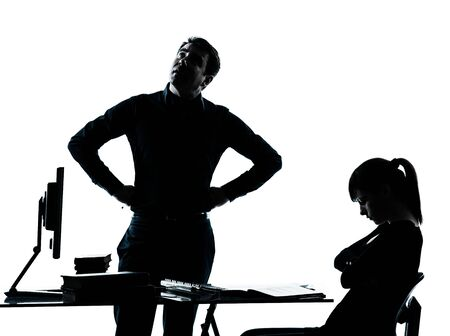one man father professor and student teenager girl helping for homework in silhouette indoors isolated on white background photo