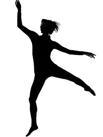 one woman modern dancer dancing exercising workout  in shadow silhouette full length in studio isolated white background photo