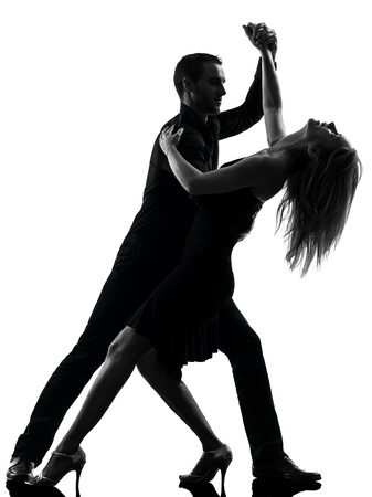 ballroom dancing: one caucasian couple woman man dancing dancers salsa rock  in silhouette studio isolated on white background