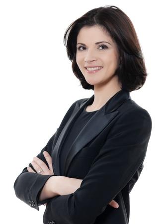 Une belle race blanche souriant affaires bras de portrait de femme croisées en studio isolé sur fond blanc Banque d'images