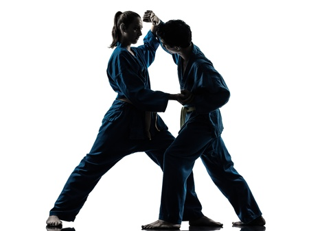 vietvodao: one  man woman couple exercising karate vietvodao martial arts in silhouette studio isolated on white background Stock Photo