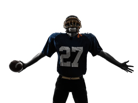 one caucasian american football player man triumphant in silhouette studio isolated on white background Stock Photo - 19533081