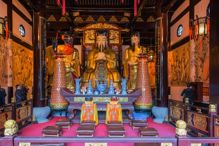 Shanghai, China - April 7, 2013  statues in the city god temple Chenghuang Miao  at the city of Shanghai in China on april 7th, 2013