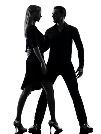 one caucasian couple woman man dancing dancers salsa rock  in silhouette studio isolated on white background photo