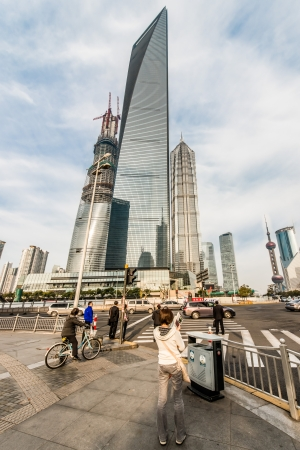 Shanghai, China - April 7, 2013: people in the streets of pudong at the city of Shanghai in China on april 7th, 2013