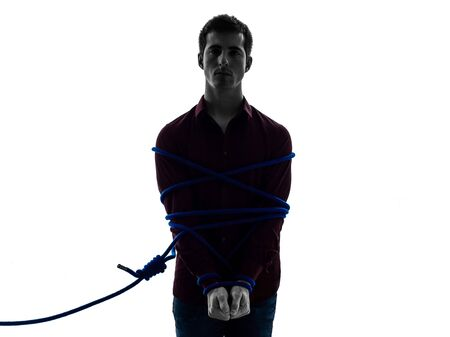 one man trapped catched lasso prisoner  in shadow  white background photo