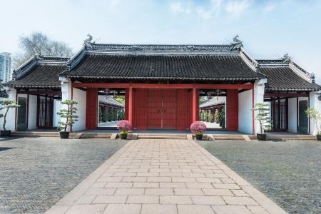 confucian: detail of Wen Miao confucian confucius temple in shanghai china popular republic Stock Photo