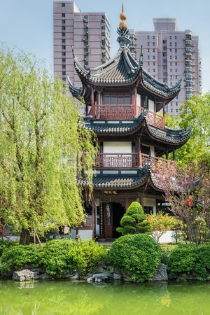 miao: detail of Wen Miao confucian confucius temple in shanghai china popular republic Editorial