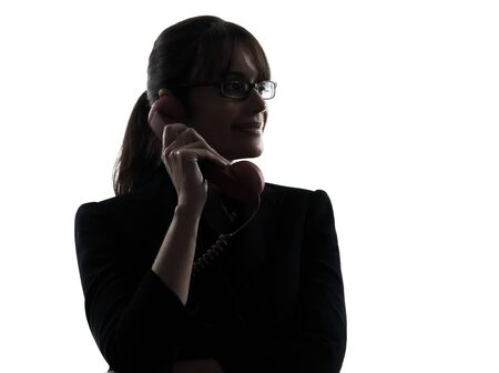 one business woman telephone  silhouette studio isolated on white background photo