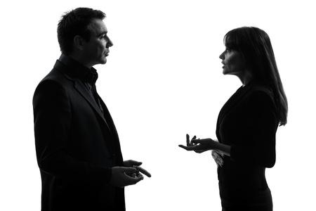 visage femme profil: un couple caucasien femme d'affaires homme en studio silhouette isol� sur fond blanc