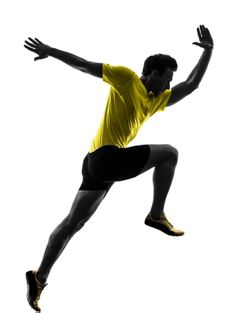 athleticism: one caucasian man young sprinter runner running  in silhouette studio  on white background