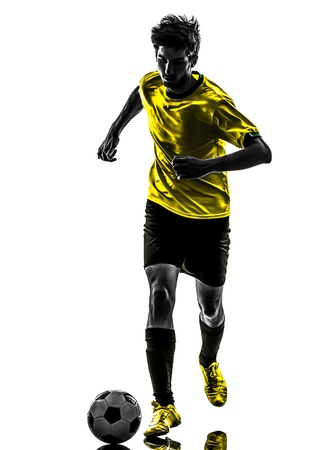 one brazilian soccer football player young man in silhouette studio  on white background Stock Photo - 19754917