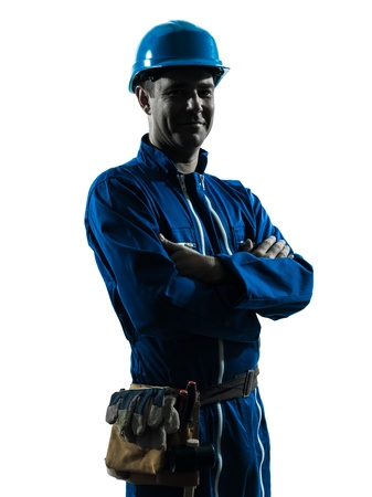 one caucasian man construction worker smiling friendly  silhouette portrait in studio on white background photo