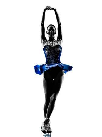figure out: one caucasian woman  ice skater skating  in silhouette  on white background Stock Photo