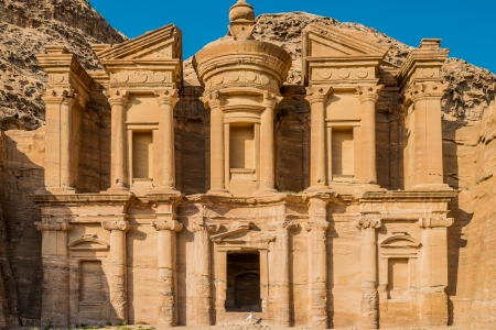 historical sites: The Monastery  Al Deir in nabatean petra jordan middle east Stock Photo