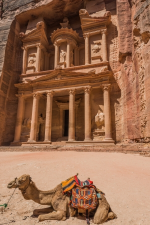 historical sites: Al Khazneh or The Treasury in nabatean petra jordan middle east