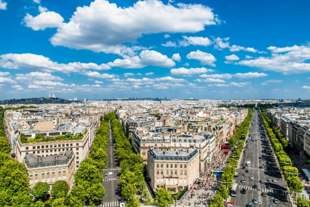 elysees: aerial view champs elysees cityscape of Paris in france