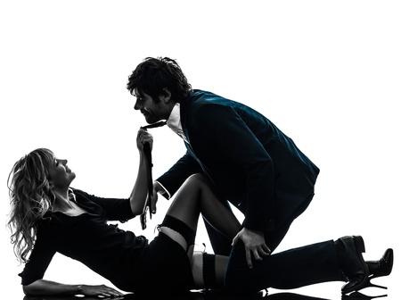 Sexy Paar stilvolle kaukasisch in Silhouette auf weißem Hintergrund Standard-Bild - 20277801