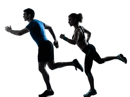 one caucasian couple man woman personal trainer coach runner running jogging sprinting silhouette studio isolated on white background 版權商用圖片