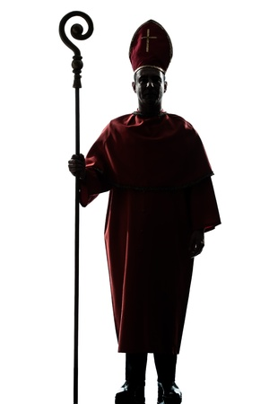 bishop: one man cardinal bishop silhouette in studio isolated on white background