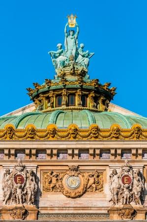 garnier: opera Garnier rooftop in the city of Paris in france
