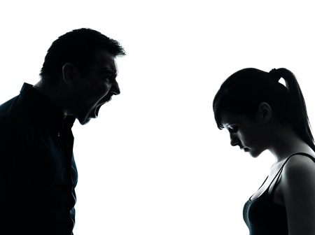 man scolding: one man and teenager girl dispute conflict  in silhouette indoors isolated on white background
