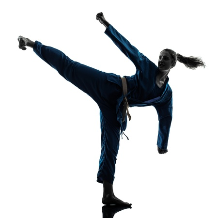girl kick: one caucasian woman exercising karate vietvodao martial arts in silhouette studio isolated on white background