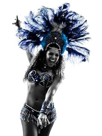 silueta bailarina: una mujer cauc�sica samba dancer silueta bailando sobre fondo blanco Foto de archivo